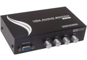 4-Way Manual Push Button VGA (HD15) Switch Box (4in/1out) with Audio