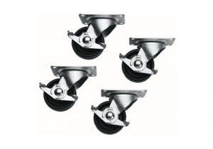 Commercial Grade Casters for Slim 5 and ERK Racks - Set of 4 (2 Locking, 2 Non-Locking)