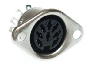 8 Pin DIN Female Solder Panel Mount Connector - 262° Style
