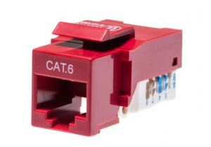 Category 6 Keystone Jack Tool less CAT6 RJ45 Insert Color Red