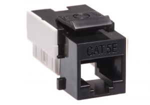 Cat5e RJ45 Punchdown Keystone Jack - Dual Row - Black