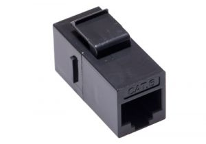 Cat6 RJ45 Inline Keystone Coupler - Black