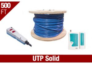 Cat6 UTP Solid Network Installation Kit - Blue