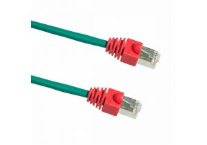 15 FT Cat5e Shielded Crossover Patch Cable - Green Cable with Red Boot