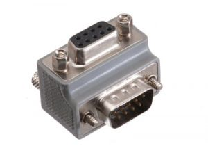 DB9 Male to DB9 Female Low Profile Right Angle Serial Adapter