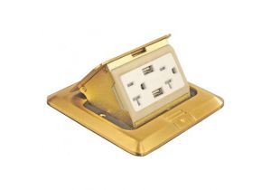 Pop Up Floor Box Kit for USB and Power - Brass