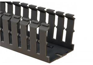 Panduit type G wide slot wiring duct, 3 W x 3 H, 6' length, PVC, adhesive, black - Single Piece