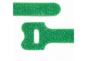 Hook and Loop Fastening Cable Ties - 8 Inch x 1/2 Inch - Green - 10 Per Pack