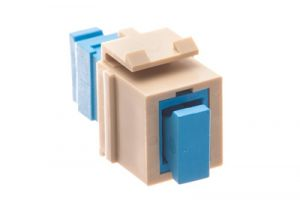 SC Feed-Thru Fiber Keystone Coupler - Ivory