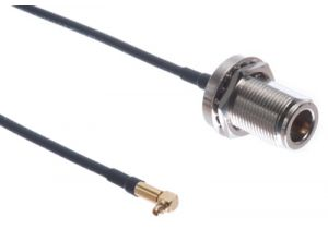 N Female Bulkhead to MMCX Male Right Angle Low Loss 100 Coaxial Assembly