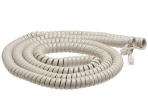 Northern Telecom Ash Telephone Handset Cord - Long Length - 1.5 Inch Flat Leader