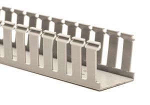 Panduit 2x4 G Wide Slot Wiring Duct - Light Gray - 6 FT - Single Piece