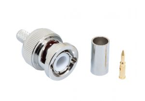 Pasternack PE4016 - BNC Male Connector Crimp/Crimp Attachment for RG58, RG303, RG141, PE-C195, PE-P195, LMR-195, 0.195 inch