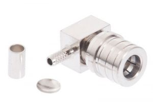 QMA Right Angle Male Crimp Connector - RG174 & LMR-100