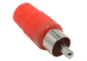 RCA Male Solder Connector - Red Plastic