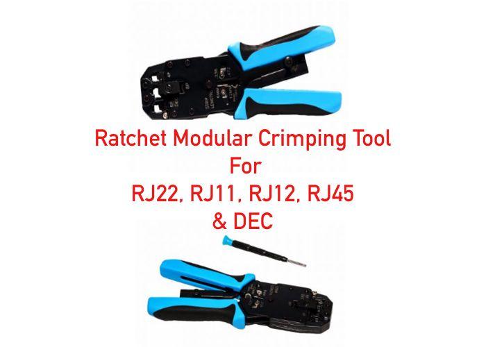 Ratchet Modular Crimping Tool for RJ22 , RJ11, RJ12, RJ45, and DEC ...