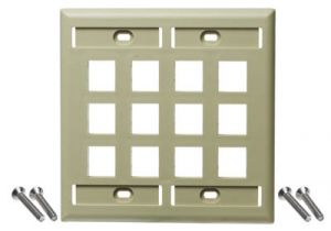 NetKey Flush Mount Screw-On Keystone Wall Plate - Double Gang - 12 Port
