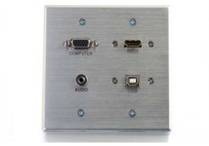HD15 VGA, 3.5mm, USB Type B, and HDMI Wall Plate - Double Gang - Stainless Steel