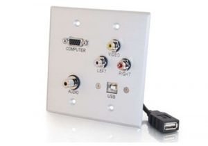 HD15 VGA, 3.5mm, USB Type B, and Triple RCA Wall Plate - Double Gang - Stainless Steel