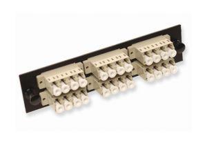 Multimode Fiber Adapter Panel - 6 Beige Quad Couplers LC - 24 Ports Total