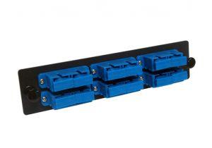 Single Mode Fiber Adapter Panel - 6 Stacked Ceramic Duplex SC Adapters