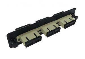 Multimode Fiber Adapter Panel - 3 Ceramic Duplex SC/UPC Couplers - OM1