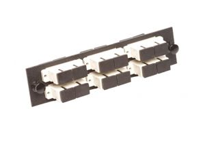 Multimode Fiber Adapter Panel - 6 Stacked Duplex SC Couplers - 12 Ports Total