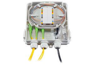 FTTH Wall Mount Plastic Fiber Distribution Unit - Up to 8 Ports/12 Splices