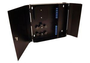 Loaded Wall Mount Fiber Enclosure - SM + MM SC Simplex Couplers - 12 Port