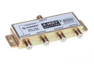4-Way Coax Splitter - 40 to 2400 MHz - One Port Power Passive