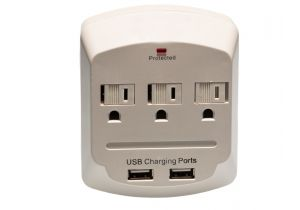 3 Outlet Surge Protector Wall Tap - Dual USB Charging Ports - 2A