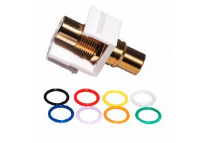 Gold RCA Female to Female Feed-Through Keystone Coupler  - 8 Multi-Colored Bands