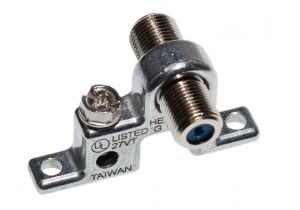 Single Port F-Type Coax Grounding Block - 3000 MHz