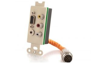 RapidRun Decora Integrated VGA (HD15) + 3.5mm + Triple RCA Wall Plate - Ivory | C2G 60023