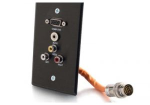 RapidRun Single Gang Integrated VGA (HD15) + 3.5mm + Triple RCA Wall Plate - Black | C2G 60031
