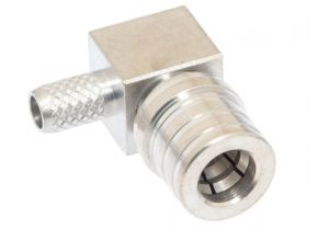 QMA Right Angle Male Crimp Connector - RG58 & LMR-195