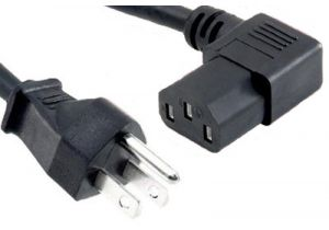Universal CPU Power Cord - NEMA 5-15P to C13 Right Angle - 15 Amp
