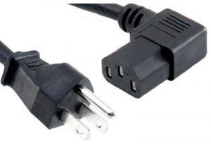 Universal CPU Power Cord - NEMA 5-15P to C13 Right Angle - 15 Amp