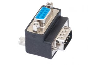 DB9 Male to DB9 Female Low Profile Right Angle Serial Adapter - Type 3