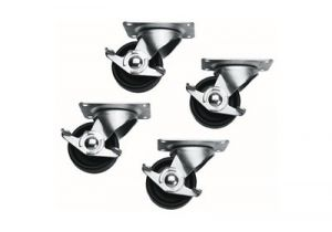 Commercial Grade Casters for Slim 5 and ERK Racks - Set of 4 (2 Locking, 2 Non-Locking)