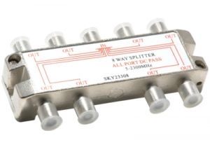 8-Way Coax Splitter - 5 to 2300 MHz - All Ports Power Passive