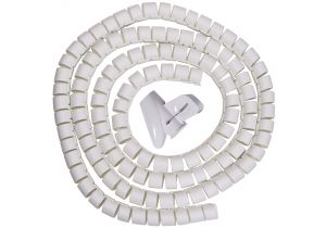 "Spiral Cable Zip Wrap White 30mm x 1.5m (1.2"" x 4.92Ft)"