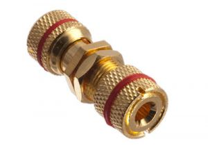 Gold Binding Post / Banana Jack Panel Mount Connector - Metal - Red