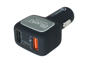 BlueKi 3 Port USB Car Charger with USB Quick Charge 3.0, USB-C, and USB Smart Sensing Technology