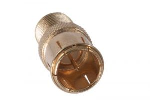 F-Type Male Push On to F-Type Female Adapter - Gold