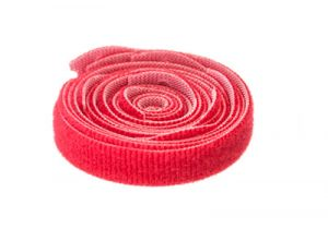 ICC Hook and Loop Cable Ties - 12 Inch x 1/2 Inch - Red - 10 Per Pack