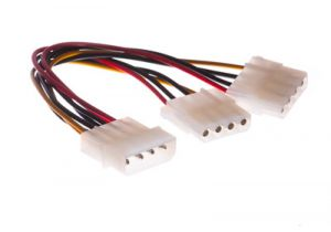 Molex 4-Pin to 2 Molex 4-Pin Power Y Cable - 6 Inch
