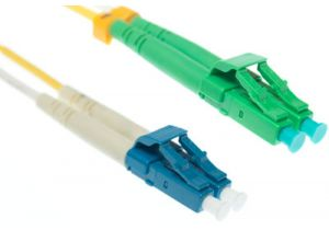 LC-APC to LC-UPC 9/125 Singlemode Duplex Fiber Patch Cable - OS2