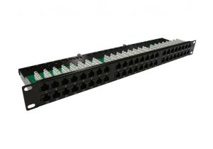 Cat6 Patch Panel with Strain Relief Bar - Ultra High Density - 48 Port