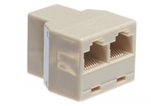 RJ45 Female to Dual RJ45 Female Modular Adapter - 8P8C - Straight Pinout